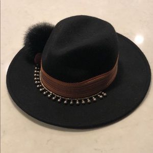 Zara beaded pom black wool fedora